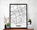MG global HERNE Germany Map Poster Hometown City Print
