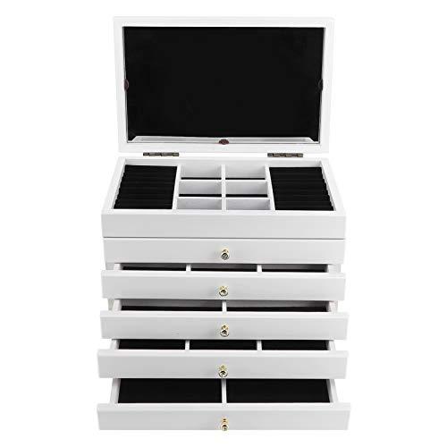 Joyero grande con 6 niveles y 5 cajones, espejo, de madera y forro de terciopelo, para pulseras, pendientes, anillos, collares, relojes Monili, idea de regalo, 30 x 18,8 x 24,6 cm