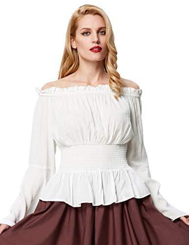 Top Mujer Blusa Victoriana Medieval Elegante Elegante Cóctel Blanco Tamaño...