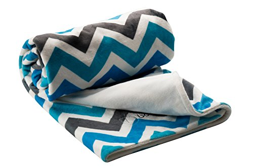 Berlando- Chevron Baby Blanket, Blue and Gray, Ultra-Soft Baby boy Blanket, 1 Ranked in Baby Blankets for Boys, Minky Baby Blankets, Stroller Blanket, Ideal Baby Shower Gift, 100% Polyester