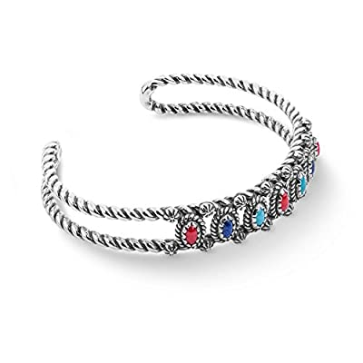 American West Sterling Silver Blue Lapis, Red Coral and Turquoise Gemstone Mini Rope Cuff Size Small
