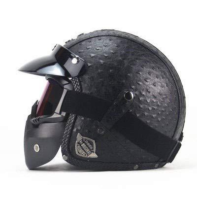 Motocross Helm Erwachsene Retro Motorrad Halbhelm Männer Frauen Helme Mit Maske-Schwarz # 3,2XL