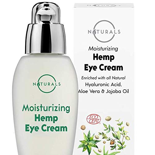 O Naturals Hydrating Organic Hemp Oil Eye Cream Moisturizing Anti-Aging Skincare with Hyaluronic Acid Vitamin E. Reduce Dark Circles Under Eye Bags Puffiness Fine Lines & Wrinkles. Men & Women 1oz