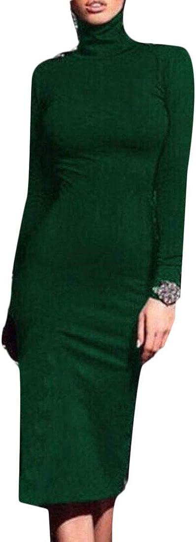 XTX Women's Long Sleeve Slim Fit Turtleneck Bodycon Long Sweater Dress Green L