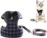 犬猫のハーネスとリードセット-クラシックな格子縞の子犬のハーネスキティリードロープセット小型犬の大きな猫のために-かわいい蝶ネクタイ&ベル付き (Color : Blue, Size : Large)