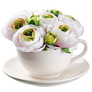 SilksAreForever 5″ Silk Ranunculus Flower Arrangement w/Ceramic Tea Cup -Soft Pink (Pack of 4)