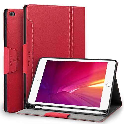 Antbox Case for iPad Mini 5 2019 (5th Generation 7.9 inch) with Built-in Apple Pencil Holder PU Leather Smart Cover with Auto Sleep/Wake Stand Function (Mini5, Red)