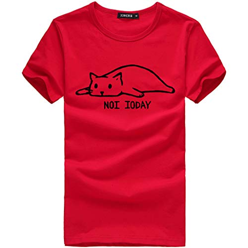 Andouy Damen T-Shirt Tee Brief Nette Katze Bedruckte Baumwolle Kurzarm Tops Gr.36-46 Slouch Bluse(S(36),rot)