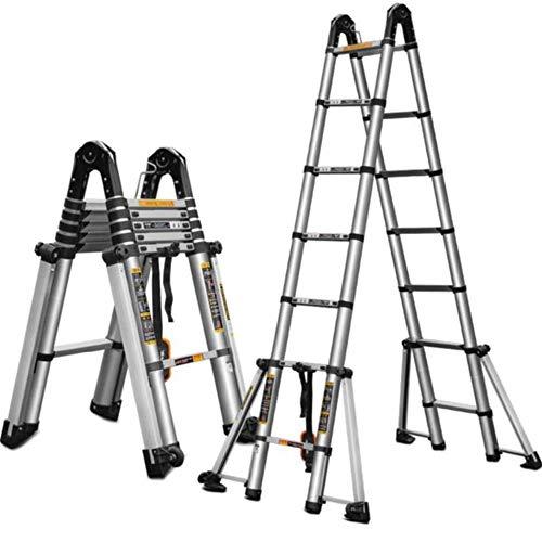 ZzheHou Teleskopleiter Tragbare Aluminium Schiebeleiter Verlängerungsschritt Kompakte Bodentreppen Für Bequeme Lagerung und Transport (Color : A, Size : 4.1M)