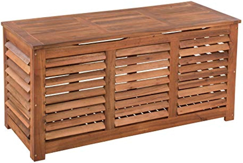 ESTEXO Auflagenbox aus Akazienholz, mit Lamellen für Belüftung, wasserabweisend