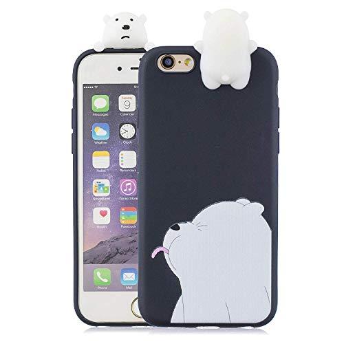 Wubao Compatible con Funda iPhone 6 Plus / 6s Plus Silicona 3D Divertidas Panda Animal Carcasa TPU Gel Ultrafina Slim Case Antigolpes Caso Protección Cover Design Gracioso - Oso