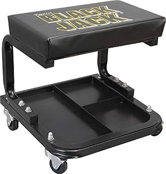 Torin TR6100W Blackjack Rolling Creeper Garage/Shop Seat  Padded Mechanic Stool with Tool Tray Storage Black