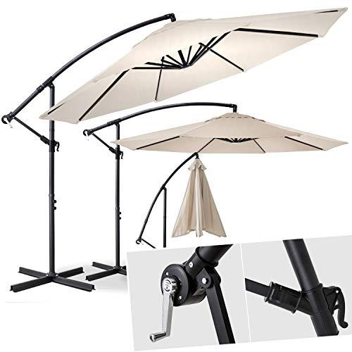 Kesser® Alu Ampelschirm Ø 300 cm mit Kurbelvorrichtung UV-Schutz Aluminium Wasserabweisende Bespannung - Sonnenschirm Schirm Gartenschirm Marktschirm Beige
