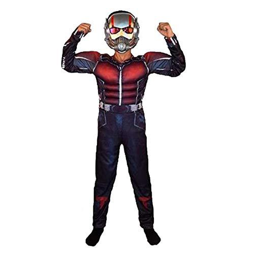 YUANY Disfraces de Ant-Man para niños Viene con máscara Brillante Mono para niños Lycra Spandex Halloween Cosplay Disfraz Fiesta temática Onesies,AntMan-120~130cm