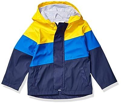 Amazon Brand - Spotted Zebra Kids Boys Rain Coat Jacket, Yellow/Navy Colorblock, Small