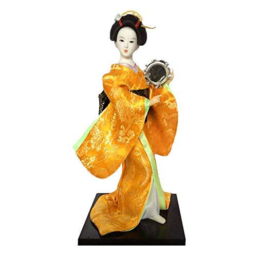 Modelo de muñeca linda Muñeca tradicional, Oriental Kokeshi Geisha Muñeca Modelo Artesanía, Decoración Muñeca japonesa - Geisha en Kimono Pink Pink, A4,12 pulgadas ( Color : A29 , Size : 12 inch )