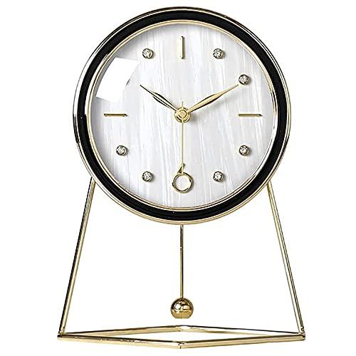 Reloj de Mesa de Metal Moderno, Reloj Europeo de Escritorio de Cristal HD, operado por batería, silencioso, en Silencio, para Dormitorio, Oficina, decoración