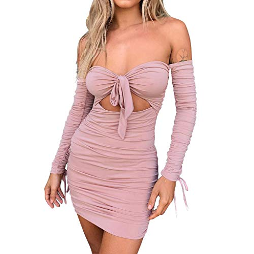 Find Discount Witspace Fashion Women Off Shoulder Sleeveless Solid Bandage Loog Sleeve Mini Dress