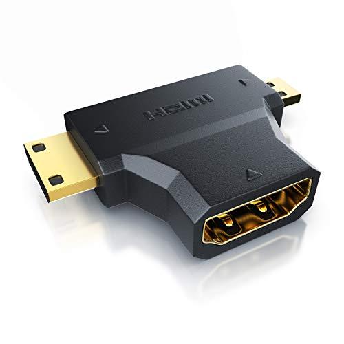 CSL - HDMI auf Mini HDMI und Micro HDMI Adapter - 2in1 HDMI Typ A Buchse auf HDMI Typ C, D Stecker - 4K UHD 2160p, Full HD 1080p - vergoldete Kontakte