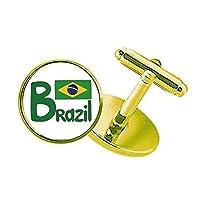ブラジル国旗の緑のパターン スタッズビジネスシャツメタルカフリンクスゴールド