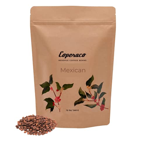 Coperaco, Chiapas Mexicano, Whole Bean Coffee, Sweet - Full - with Chocolate notes , Medium Roast, Balanced and Smooth , Gourmet, Artisanal, 100% arabica, Organic, Proudly Mexican,12 oz