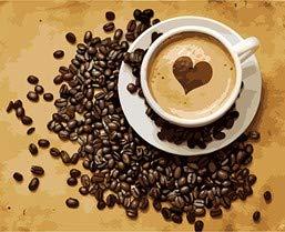 ZYCD Unterstützung Benutzerdefinierte Kaffee Malen nach Zahlen Handgemaltes Acrylbild Malen nach Zahlen auf Leinwand (40*50cm/16*20inch)