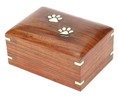 Hind Handicrafts Urna de madera de palisandro para mascotas, urna de recuerdo para mascotas, urna para cenizas, urna para cenizas para cenizas de recuerdo de perros, gatos, caja de...