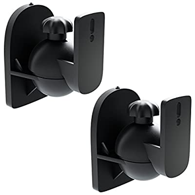 deleyCON 2x Universal Speaker Wall Mounts Loudspeaker Wall Mountings Tilt + Swivel & up to 3.5 Kg Load Weight - Ceiling Mounting + Wall Fitting - Black from deleyCON