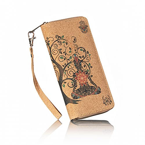 Buddha Cork Vegan zip around womens wristlet wallet - Spiritual design Tree of Life Chakras Ganesh Hamsa Om Symbol Lotus flower with room for cards, coins & cell phone holder Billetera para mujer
