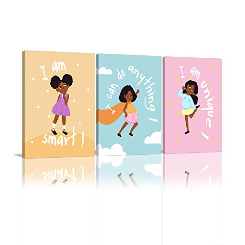 Girls Room Decor Wall Art Decoration for Girls Bedroom Motivational Black Girl Canvas Prints African American Canvas Art with Inspirational Words Gift Idea for Little Girls Framed Canvas Set of 3…