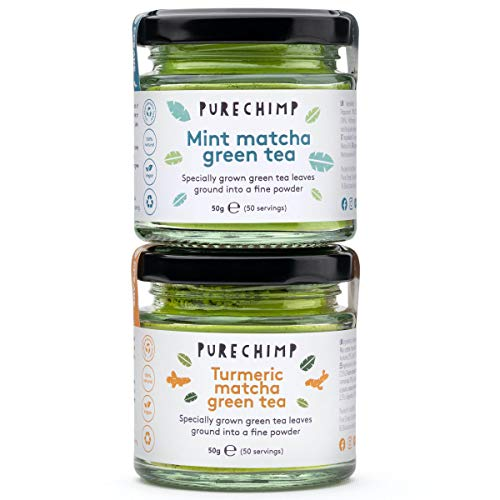 Matcha Tea Powder by PureChimp | Regular/Lemon/Mint/Turmeric 50g Jars [Packs of 2] Duos | Ceremonial Grade from Japan | All Natural & Vegan | Pesticide-Free (1 x Turmeric & 1 x Mint)