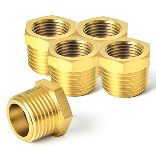 """Taisher 5PCS Brass Reducer Hex Bushing Threaded Pipe Fitting 3/4"""" NPT Male x 1/2"""" NPT Female Adapter"""