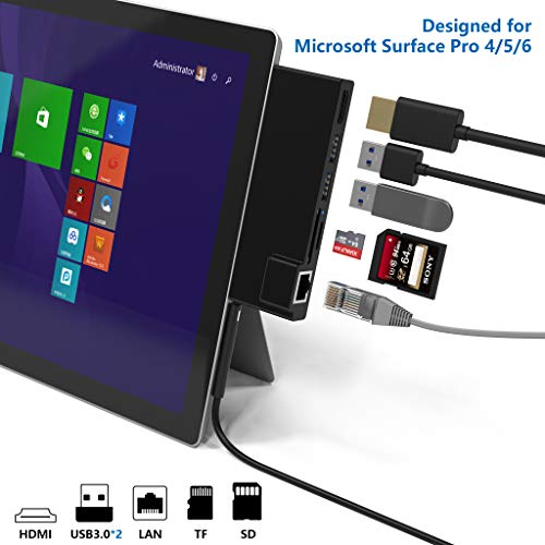 【Verbesserte Version】 Rytaki Surface Pro 4/5/6 USB Hub mit 1000M Ethernet-Port, HDMI, 2 x USB 3.0-Ports, SD/Micro-SD-Kartenleser,LAN-Adapter für die Surface Pro 4/5/6