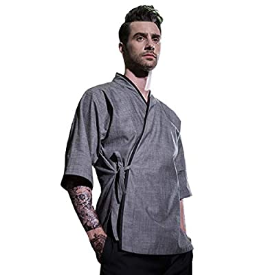 XINFU Men's Japanese Chef-Jacket 3/4 Sleeved Korean Unisex Cooking Clothes Kimono Summer Dress