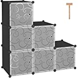C&AHOME Cube Storage with Doors, Storage Organizer, 6-Cube Plastic Closet Cabinet, Modular Bookcase Units, Ideal for Bedroom, Living Room, 36.6' L x 12.4' W x 36.6' H Translucent White with Crack Black Color