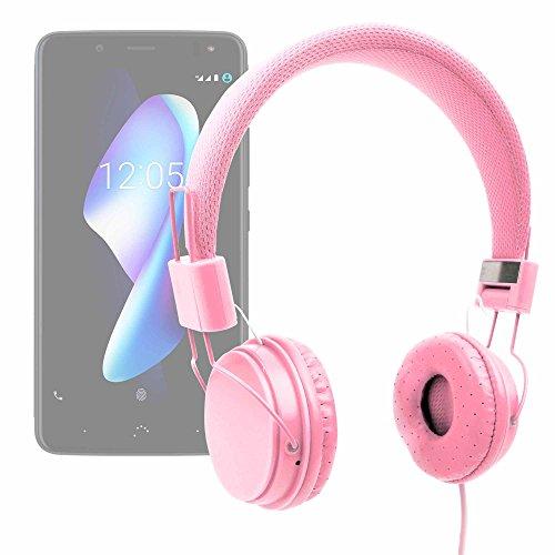 DURAGADGET Auriculares De Diadema En Rosa para Smartphone BQ Aquaris VS, BQ Aquaris VS Plus