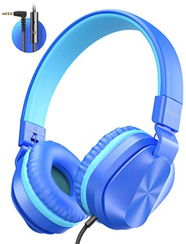 PeohZarr On-Ear Headphones with Microphone, Lightweight Folding Stereo Bass Headphones with 1.5M Tangle Free Cord, Portable Wired Headphones for Smartphone Tablet Laptop Computer MP3/4-Blue/Teal
