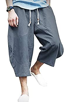 KAMUON Mens Casual Baggy Cotton Linen Pocket Lounge Harem Pants Beach Long Shorts  US XL = Asian Tag 4XL   Waist 37 -39  Blue Grey