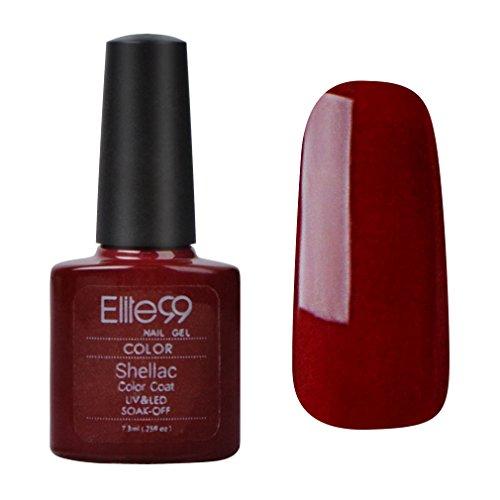 Elite99 Shellac UV LED Gel auflösbarer Nagellack 7.3ml Rot Tiefrot red rot red ROT Tief-rote Datteln, Nagelgel Farbgel Farblack (1 x 7.3ml)