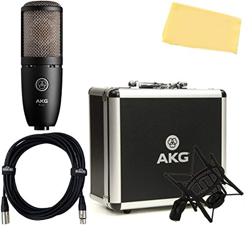 AKG P220 High-Performance Vocal Condenser Microphone Bundle with XLR Cable and Zorro Polishing Cloth