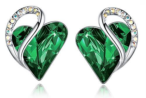 Leafael Mujer'Infinito Amor' Cristales del corazón pendientes hechos con Swarovski regalos de joyas del verde esmeralda de mayo Birthstone, tono plateado