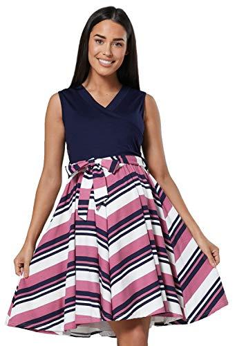 HAPPY MAMA. Damen Umstands Stillkleid Lagendesign V-Ausschnitt Empire-Taille. 078p (Dusky Pink mit Streifen, 38, M)