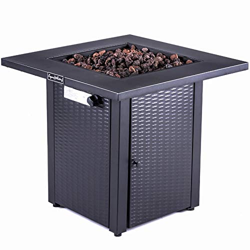 LEGACY HEATING 28-Inch Wicker Square Propane Fire Pit Table Gas Square Outdoor Dinning with Lid,...