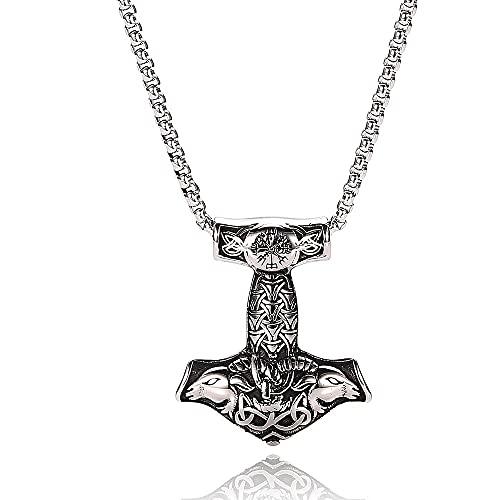 XBOMEN Collar con Colgante de Árbol De La Vida con Martillo de Viking Odin Thor para Hombre, Insignia Nórdica de Acero Inoxidable, Runa Mítica Retro, Joyería de Estilo Hip Hop Rock
