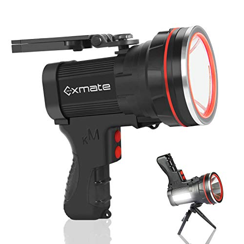 Exmate Linterna Recargable Superbrillante 9800 mAh LED Reflector de Mano Potente Linterna Antorcha para Acampar al Aire Libre Senderismo Pesca (Negro) ⭐