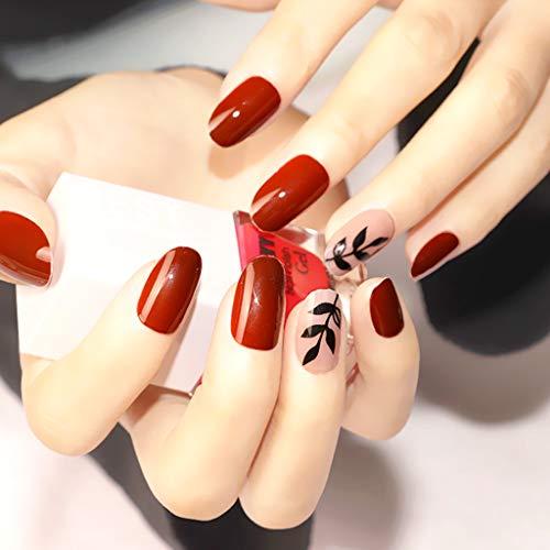 24 Stück Weinrot Falsche Nägel Zum Aufkleben, Feelairy Künstliche Vollständige Abdeckung Gefälschte Nägel Kurz Natur Französisch Fake Nails mit Nagelkleber-Aufkleber für Damen und Frauen
