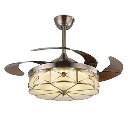 Ventilateurs de plafond avec lampe intégrée Lampe De Ventilateur De Plafond À LED Ventilateur De Feuille À Feuille De Ventilateur Télescopique Invisible Lustre De Ventilateur En Cuivre Rétro Américain