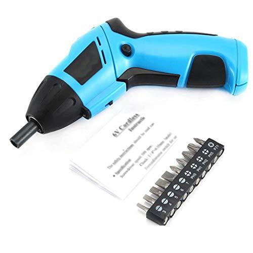 Hogar Destornillador eléctrico Recargable, cáscara de Burbuja Azul Office Mini Taladro eléctrico, Viene con Luces LED