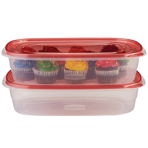 Rubbermaid TakeAlongs Large Rectangular Food Storage Containers, 1 Gallon, Tint Chili, 2 Count