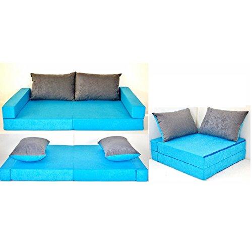 KK B1 blau-grau Kindersofa Kindermatratze Sitzkissen Spielsofa Minicouch Set + 2 Kissen (KK B1 (blau-grau))